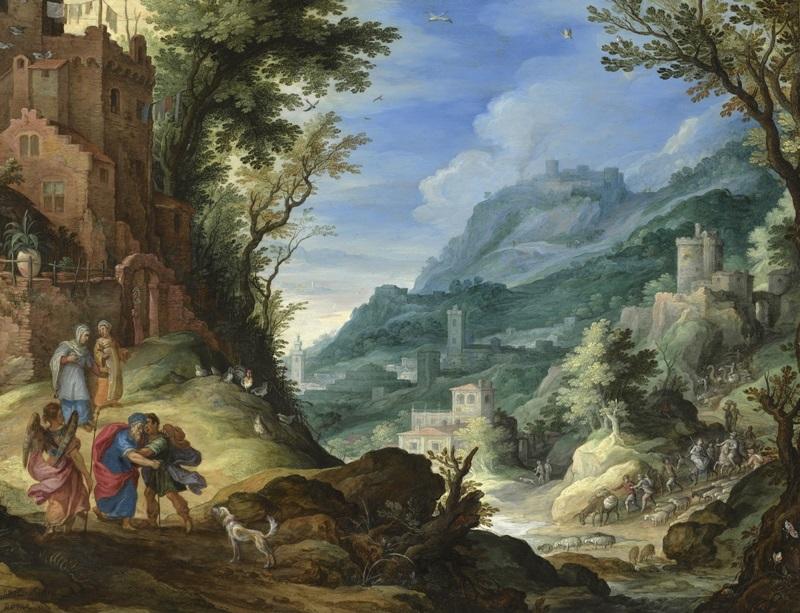 Обширный пейзаж с Товитом, Товией и архангелом Рафаилом.