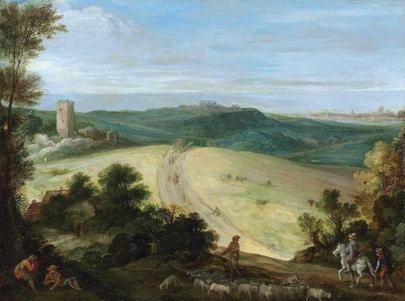 Панорамный пейзаж с пастухом и разрушенной башней.