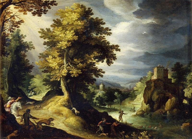 Пейзаж с оленьей охотой.