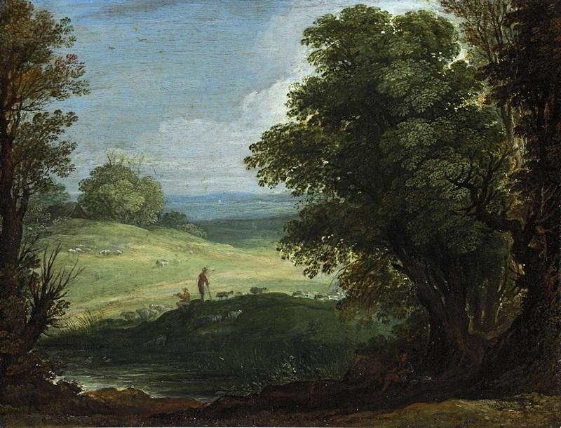 Пейзаж с пастухом и стадом.