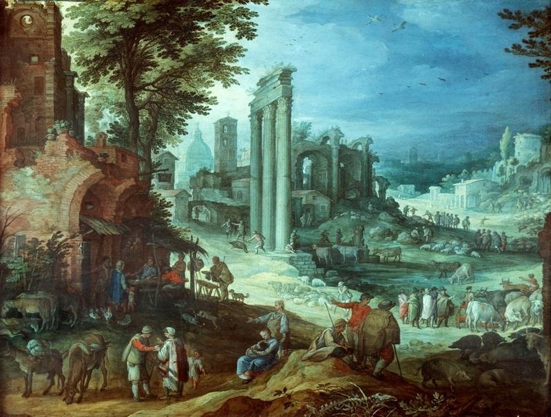 Пейзаж с римскими руинами.