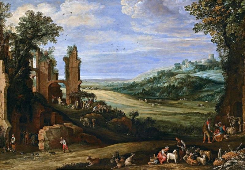 Пейзаж с руинами.