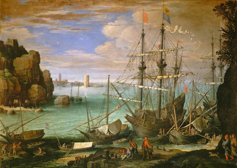 Прибрежный пейзаж с портом.