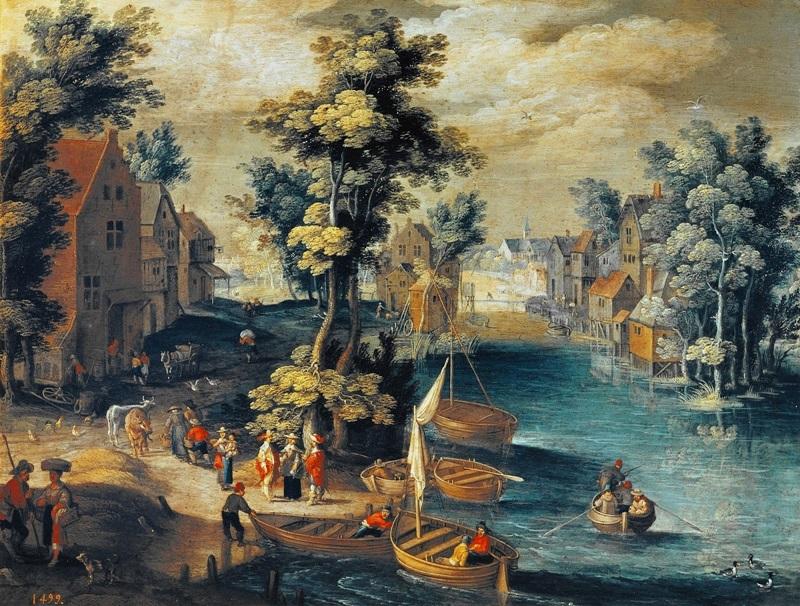 Речной пейзаж с деревней и фигурами на берегу.