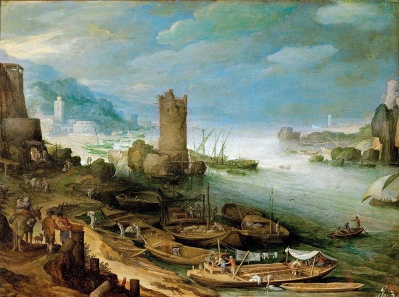 Речной пейзаж с руинами башни.