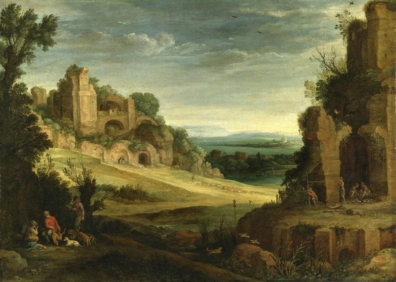 Скалистый пейзаж с охотниками рядом с римскими руинами.
