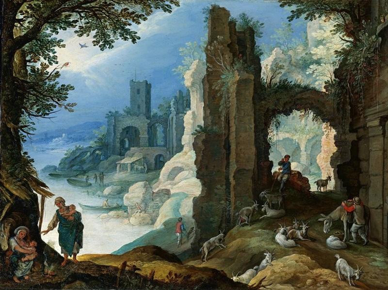 Фигуры в пейзаже с руинами.