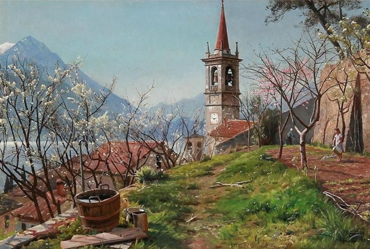 Весна в Варенне в Италии, женщина поливает грядку