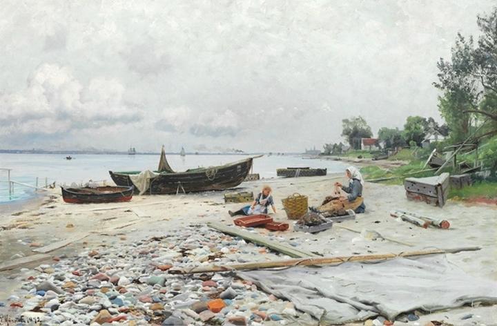Береговая сцена в Хеллебеке с видом Хельсинборга и Кронборга