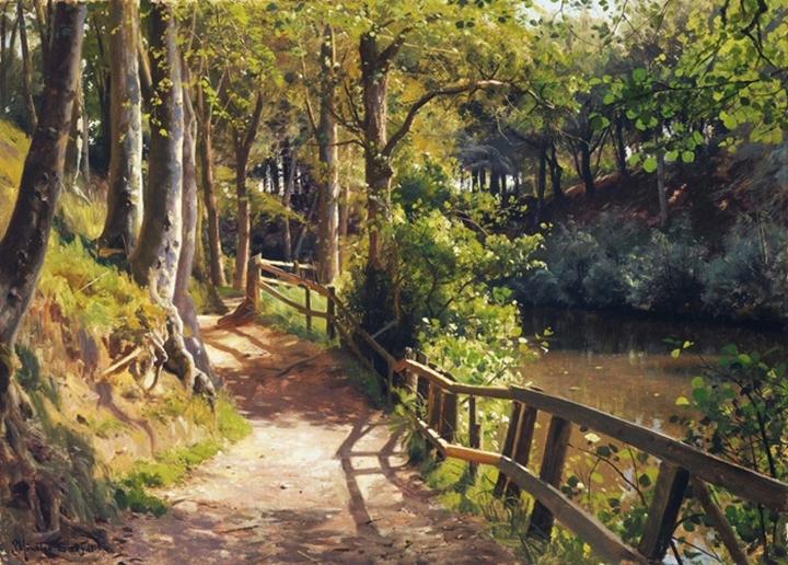 Весеннй день в лесу Сёбю, проблеск солнеч света сквозь деревья