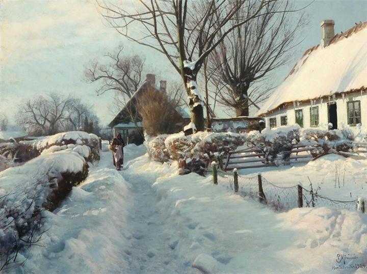 Зимний пейзаж с пожилой женщиной на пути домой