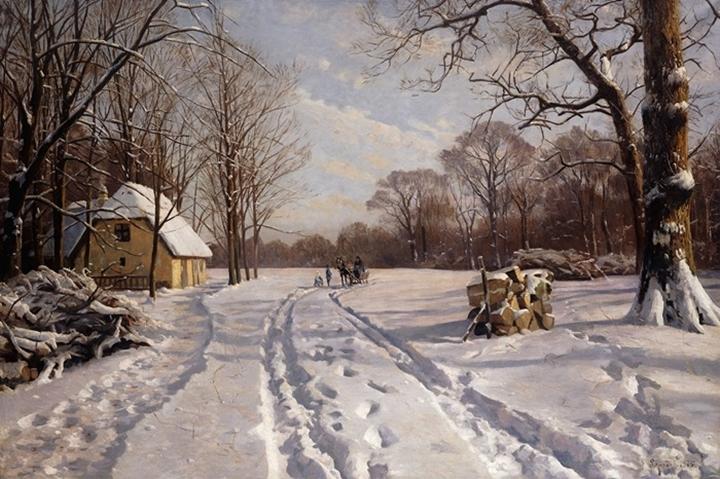 Катание на санях в зимнем пейзаже