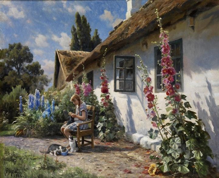 Летний день в саду с девушкой за вязанием