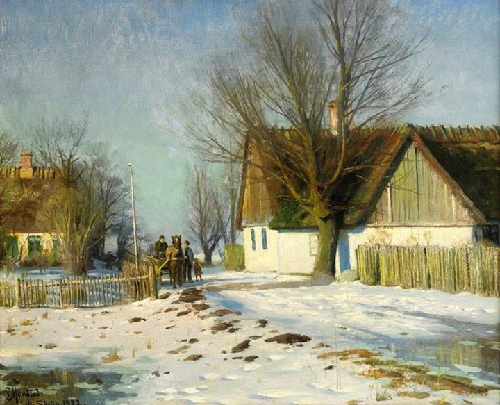 Малый Зёруп - Солнечный зимний пейзаж с лошадью и телегой