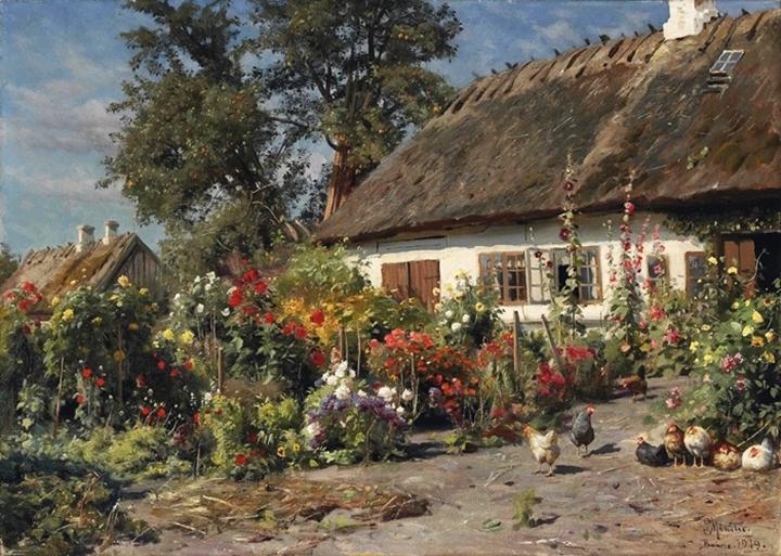 Приусадебный сад с курами