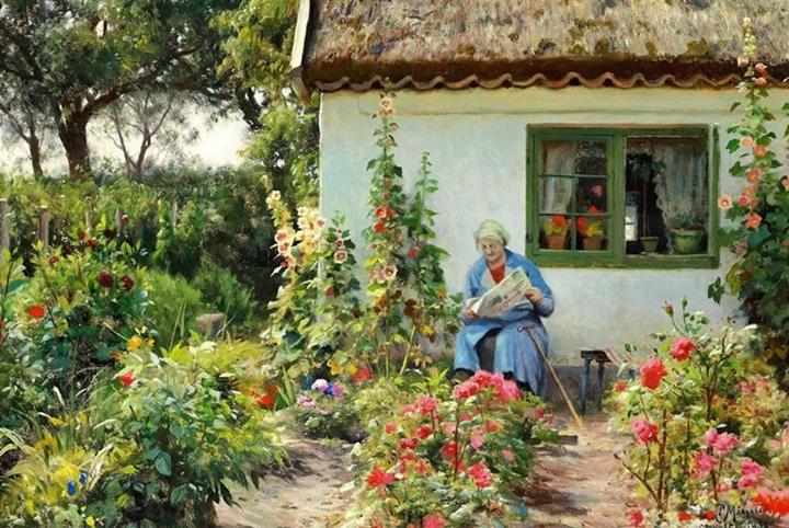 Чтение газеты в саду