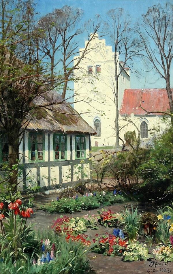 Сельский пейзаж на Самсе с клумбами возле церкви