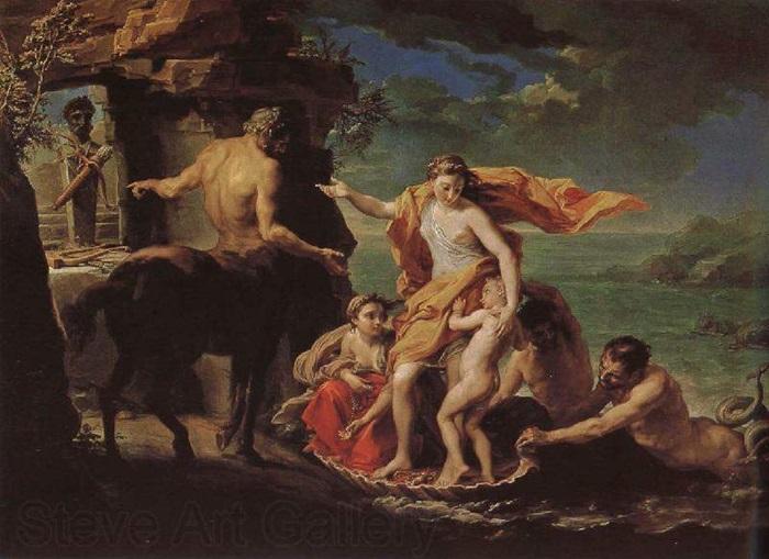 Фетида вручает Хирону Ахиллеса на воспитание