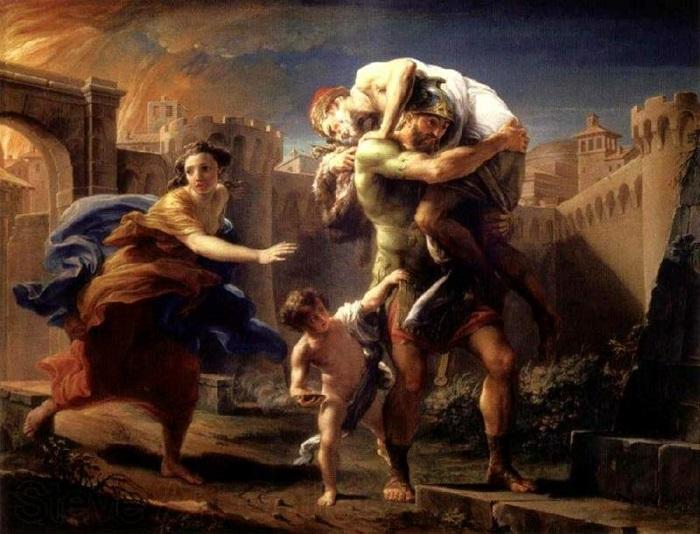 Эней бежит из Трои.