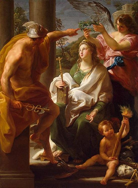 Меркурий,коронующий Философию, (мать Искусств).