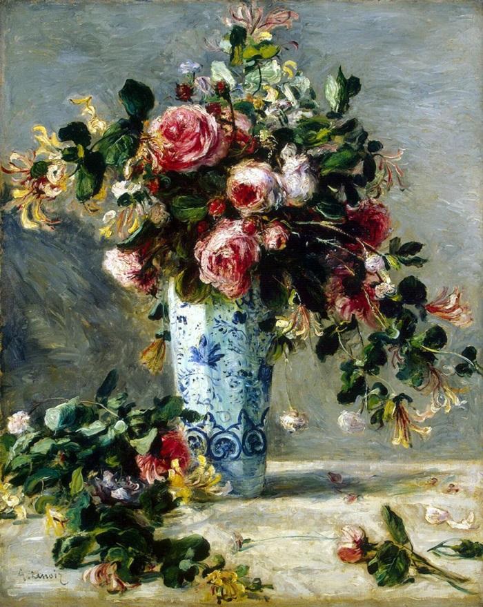 Розы и жасмин в дельфтской вазе