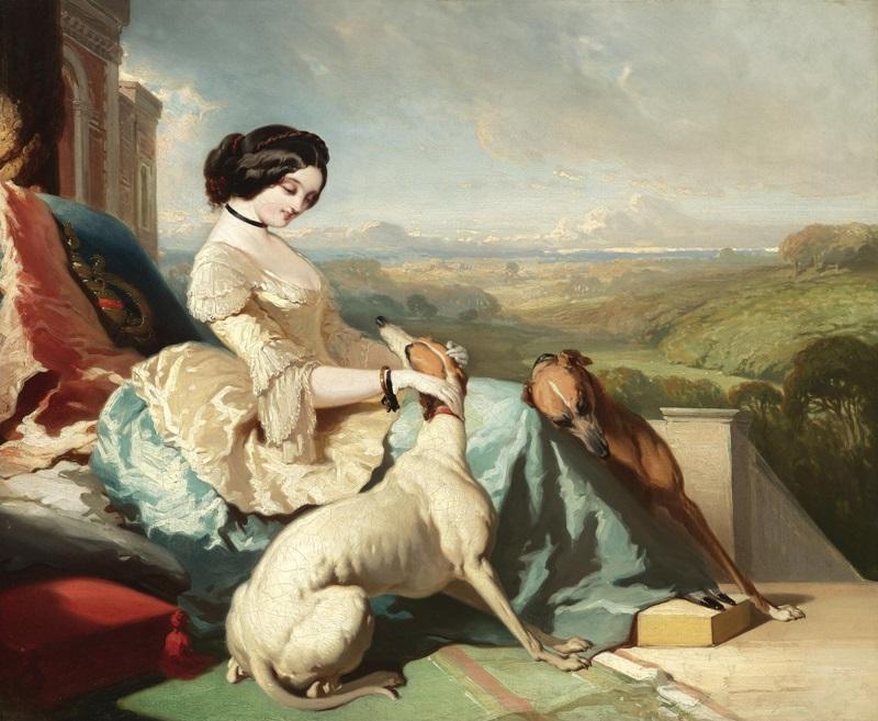 Дама, сидящая на террасе замка в Шотландии