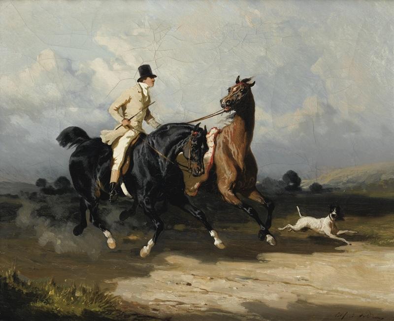 Джентльмен с двумя лошадьми, скачущими галопом