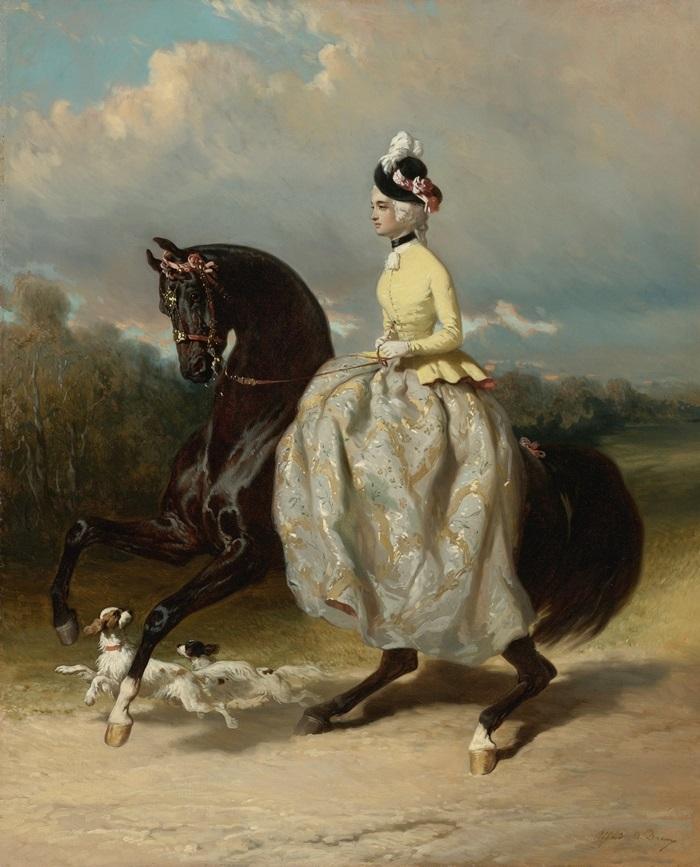 Женщина в костюме Марии-Антуанетты