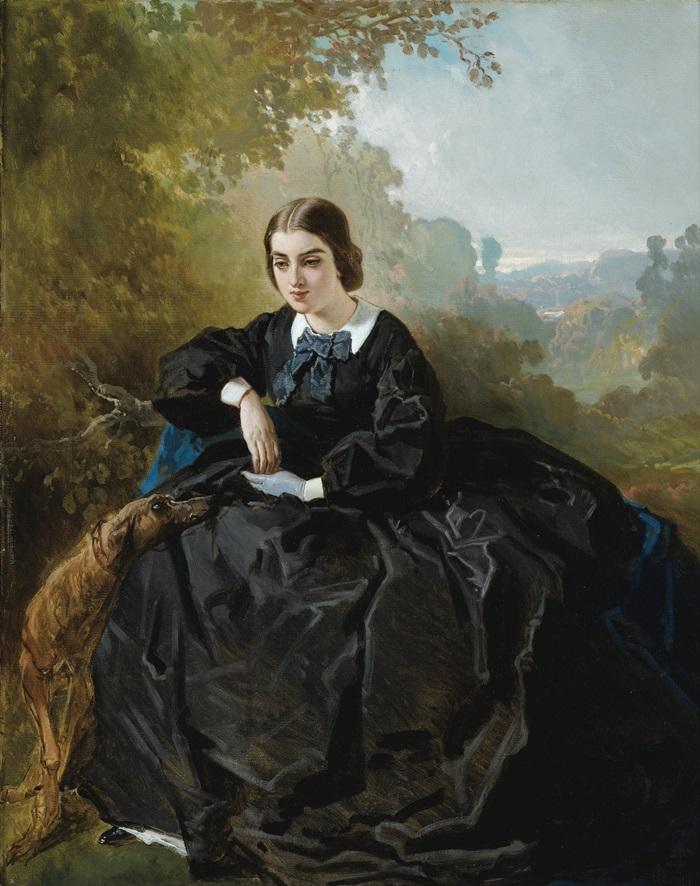 Задумчивая молодая дама в черном платье