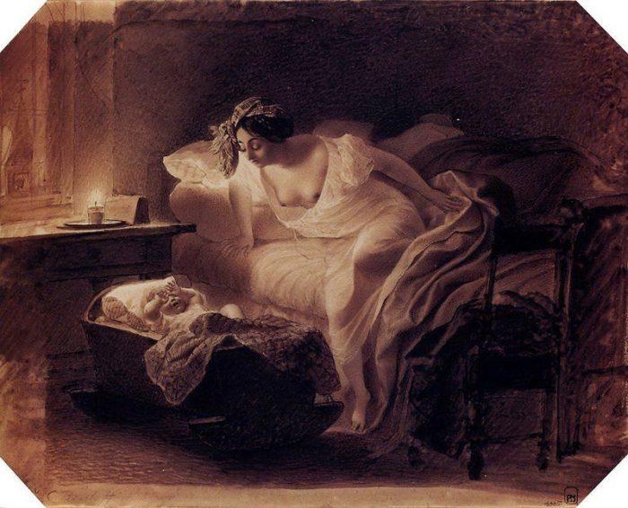 Мать, просыпающаяся от плача ребёнка.