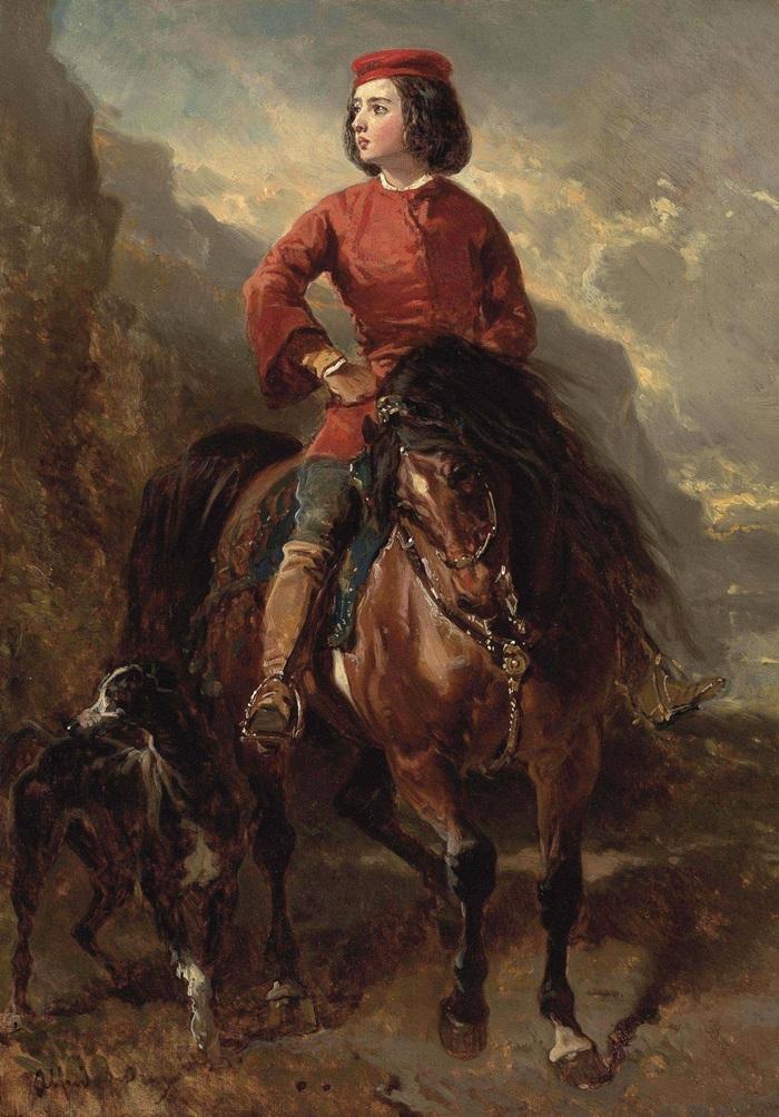 Молодой всадник на шетландском пони и гончая