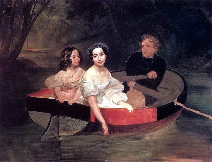 Портрет автора и баронессы Е. Н. Меллер-Закомельской с девочкой, в лодке.