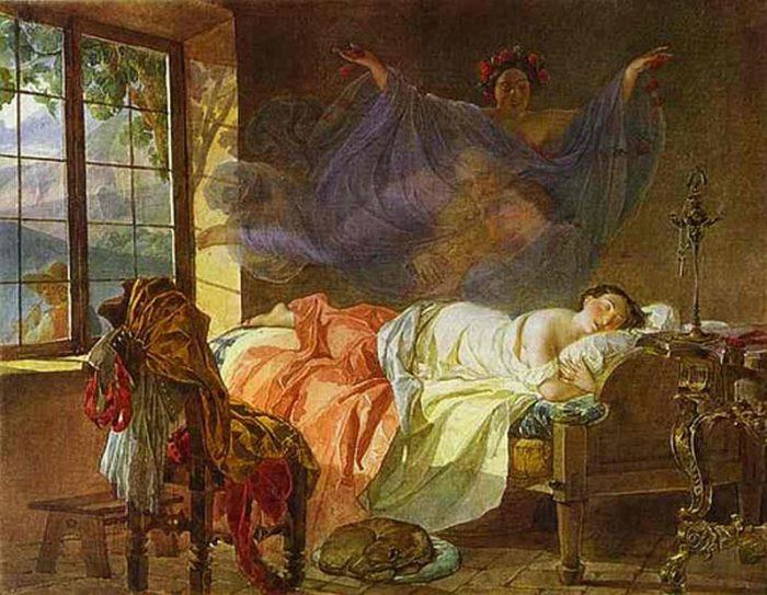 Сон молодой девушки перед рассветом.