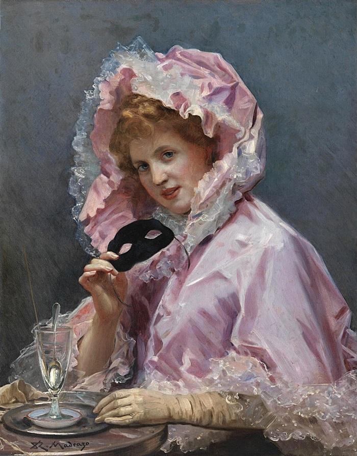 Молодая дама с маской и бокалом абсента