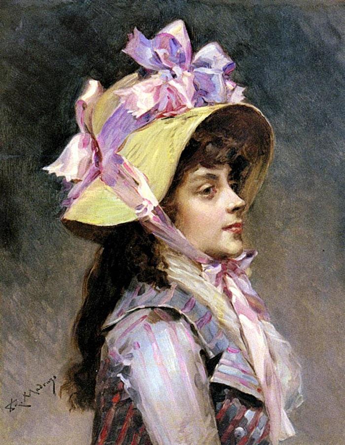 Портрет молодой дамы в шляпке с розовыми лентами