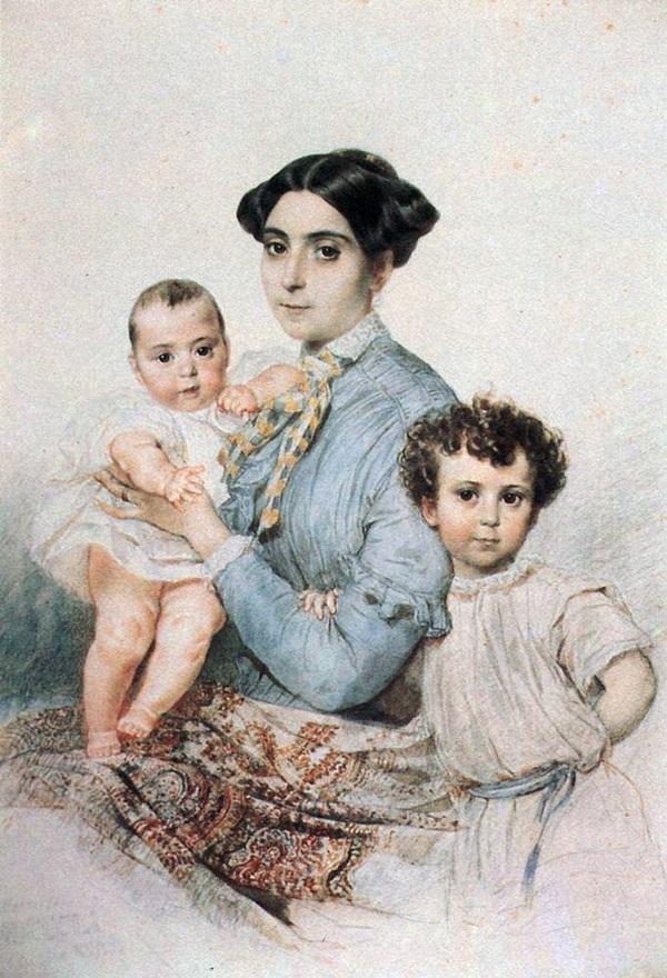Портрет Терезы- Микеле Титтони с сыновьями.