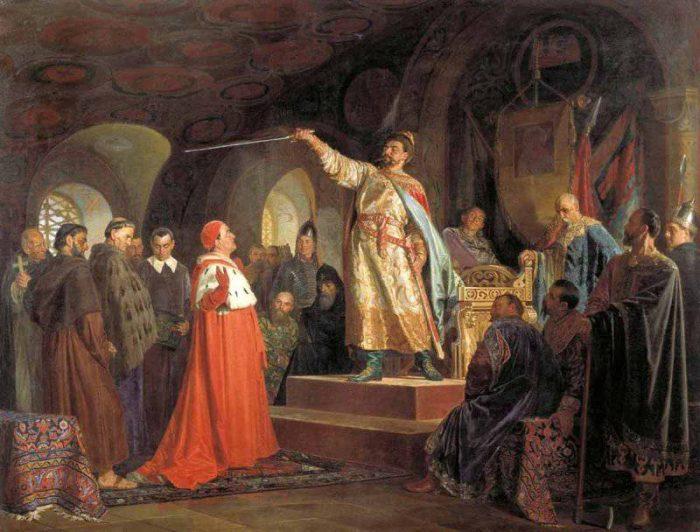 Роман Галицкий принимает послов папы Иннокентия III