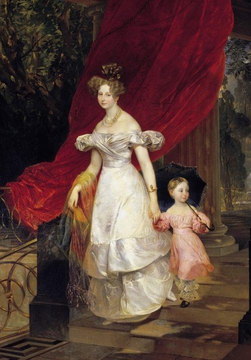 Портрет великой княгини Елены Павловны с дочерью Марией.