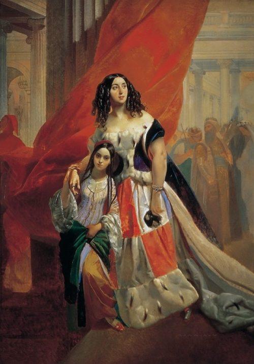 Портрет графини Юлии Павловны Самойловой, удаляющейся с бала с приёмной дочерью Амацилией Паччини.