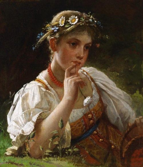 Девочка в русском костюме с венком из цветов
