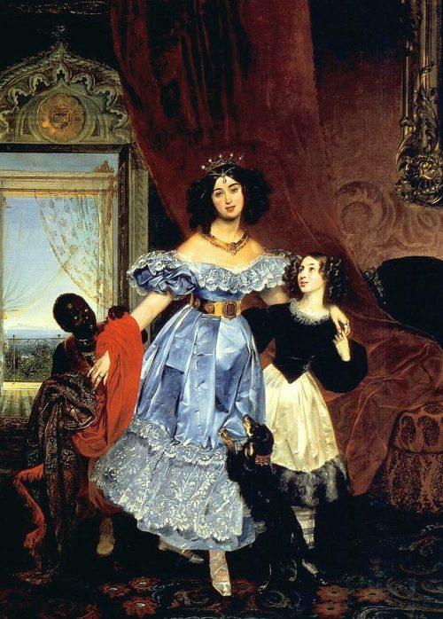 Портрет Ю.П. Самойловой с Джованиной Паччини и арапчонком.