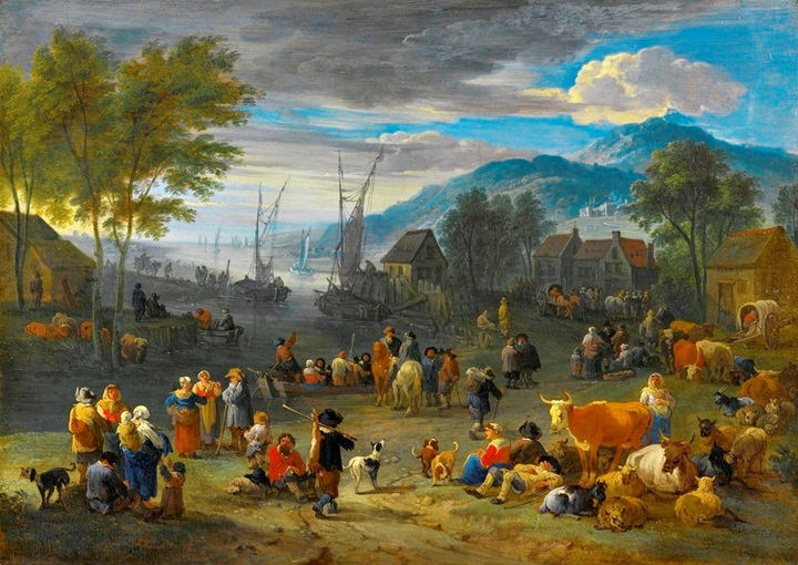 Горный речной пейзаж с фигурами и скотом