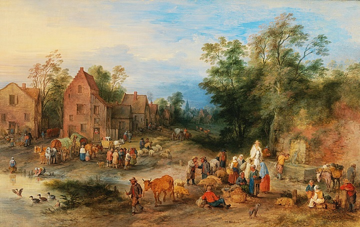 Деревенский пейзаж с фигурами на рынке у пруда
