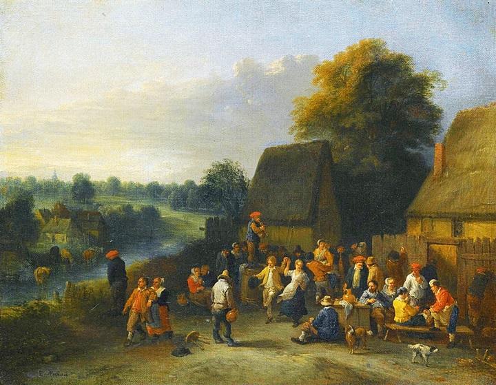 Крестьяне веселятся возле трактира