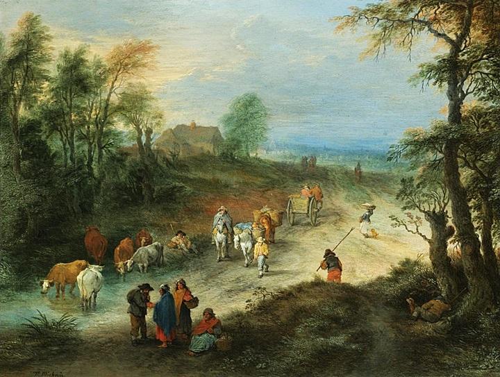 Лесной пейзаж с путешественниками и пастухом