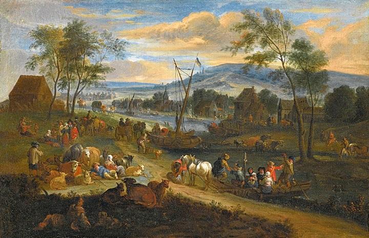 Обширный пейзаж с крестьянами