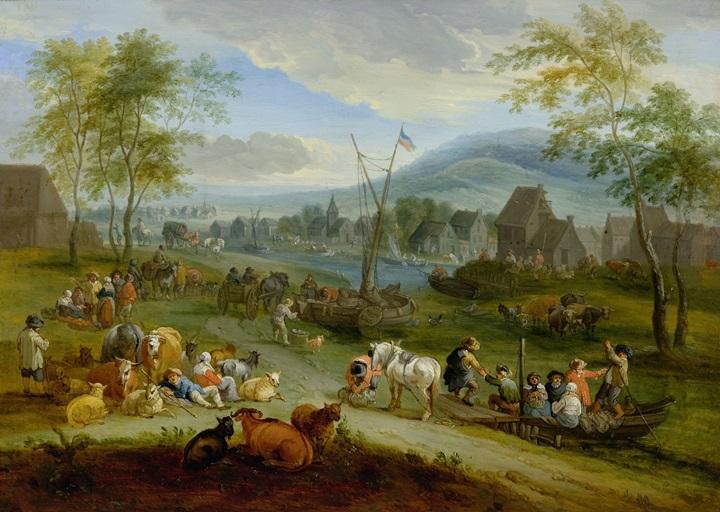 Оживленный речной пейзаж с фигурами