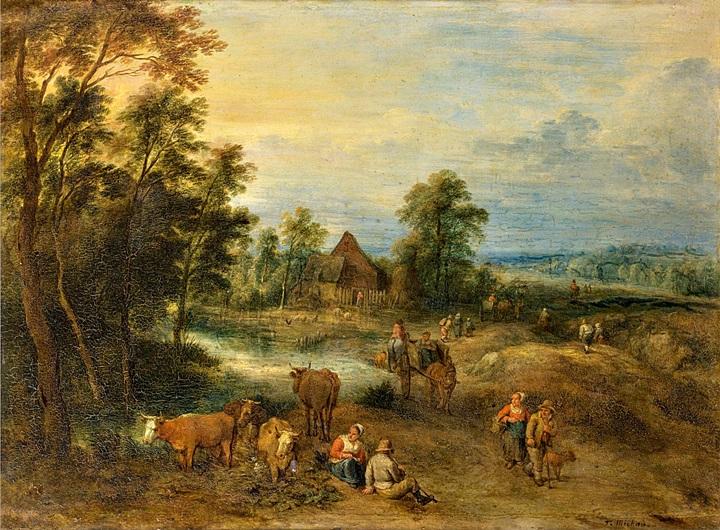 Пейзаж с крестьянами