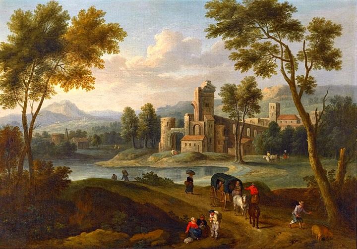 Пейзаж с путешественниками и замком вдали