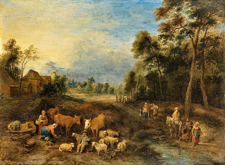 Пейзаж с путешественниками и скотом